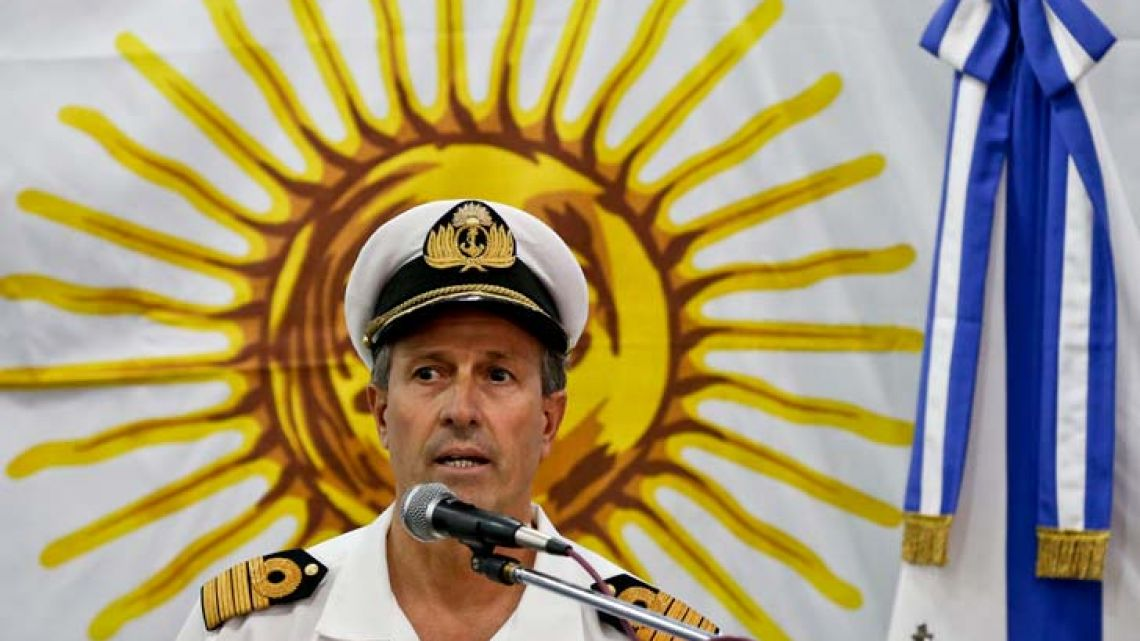 Spokesman Enrique Balbi talks during a press conference at Navy headquarters in Buenos Aires