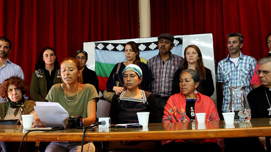 Family members and Mapuche activists called for peace and respect during a press conference in Bariloche on Friday following the 22-year-old's death on Saturday during a Police raid.