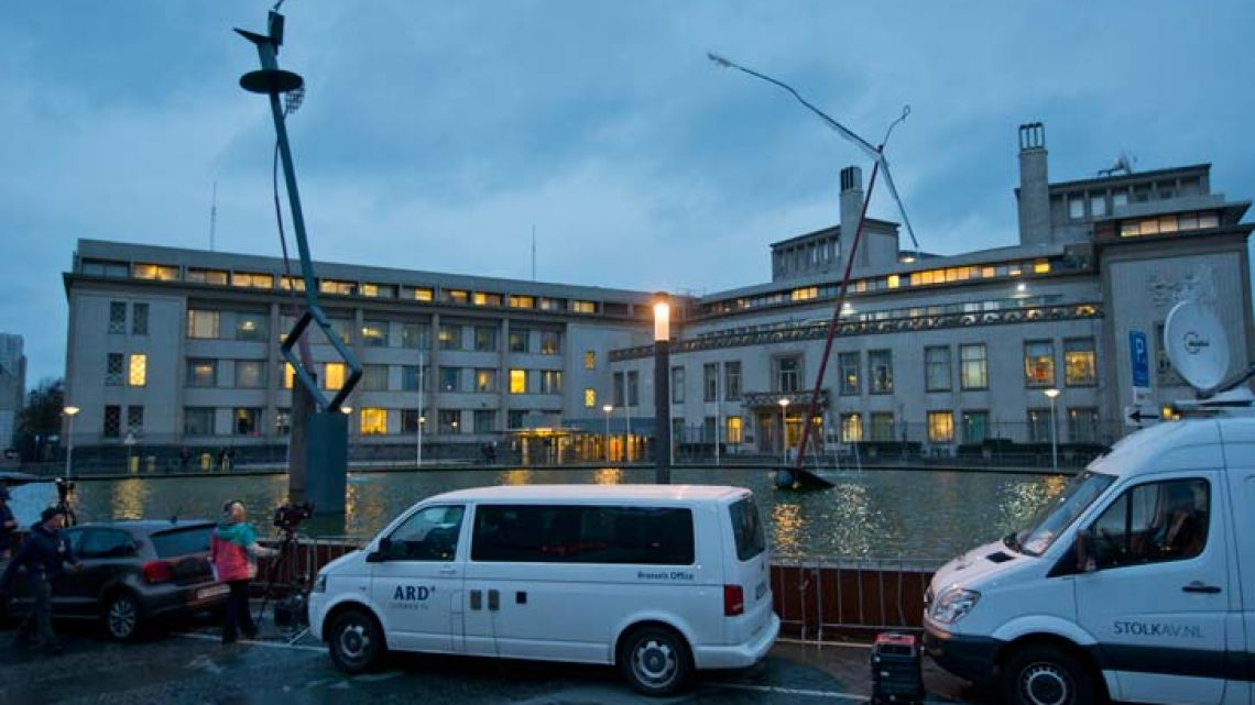 Satellite trucks and cameras set up outside the International Criminal Tribunal for the former Yugoslavia (ICTY) in The Hague, Netherlands.