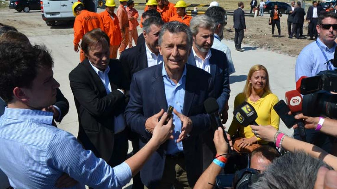 President Mauricio Macri speaks to the media at an event in Entre Ríos, earlier this week.