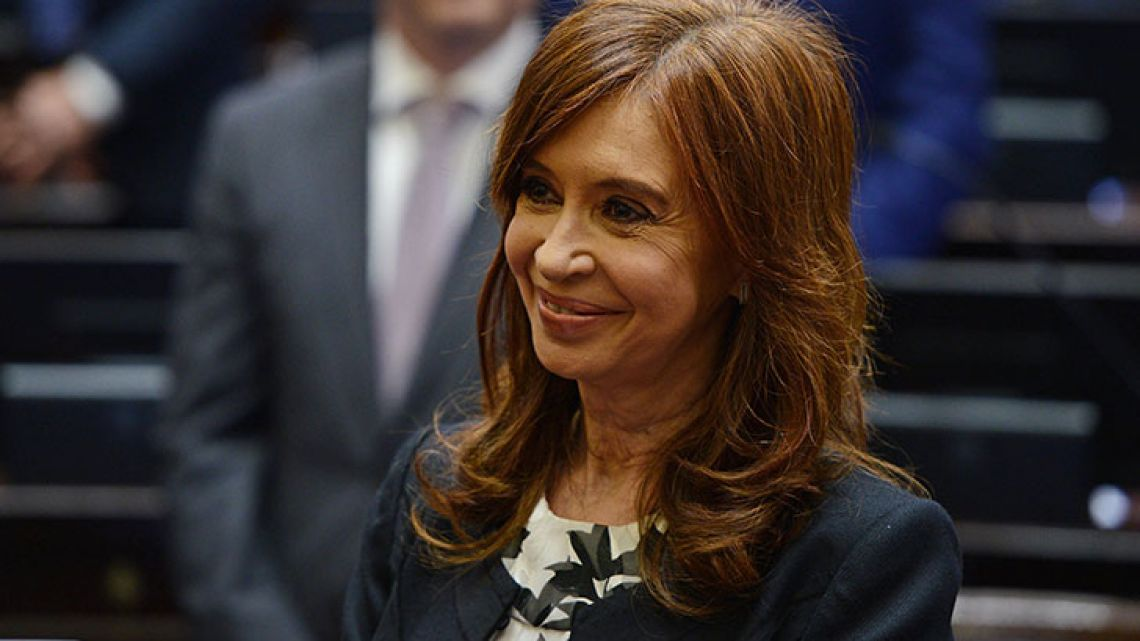 Handout picture showing former president and senator for Buenos Aires Province, Cristina Fernández de Kirchner, smiling during the swearing-in ceremony in which she took oath for a new mandate as senator, at the Congress in Buenos Aires, on November 29.