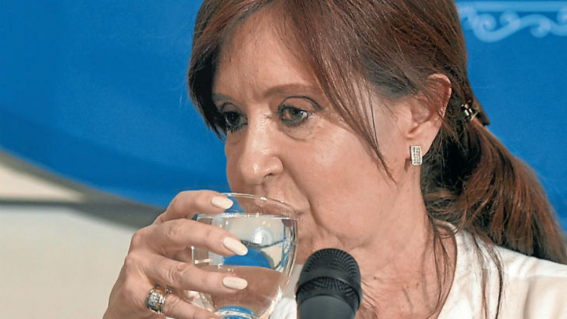 Cristina Kirchner during the press conference.