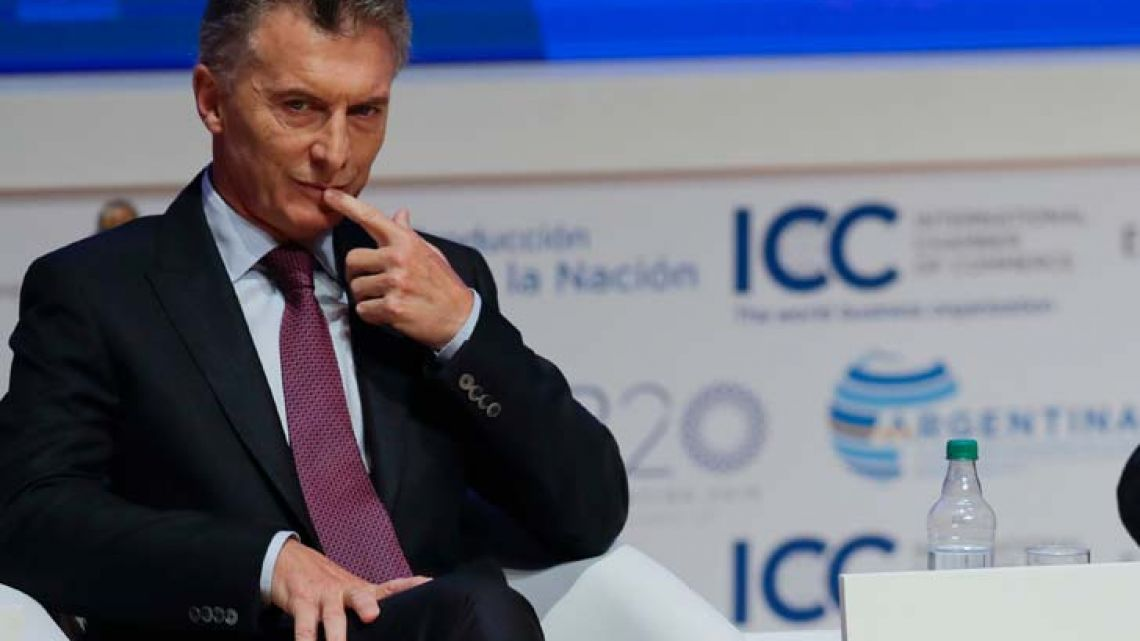 President Mauricio Macri attends the business forum of the eleventh Ministerial Conference of the World Trade Organisation (WTO) in Buenos Aires in December, 2017.