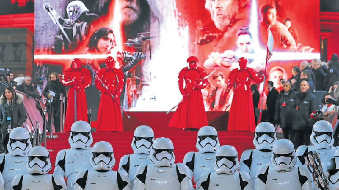 Stormtrooopers and Praetorian guards pose on the red carpet for the European Premiere of Star Wars: The Last Jedi at the Royal Albert Hall in London on Tuesday.