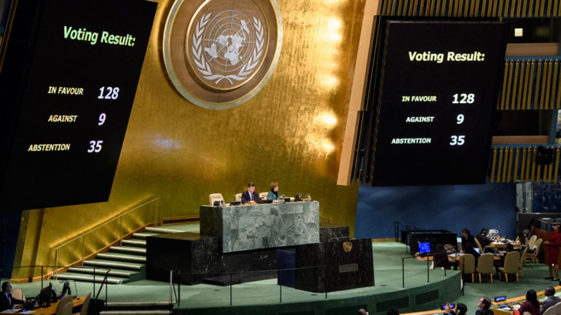 "The results of a vote are posted in the General Assembly at United Nations headquarters. The UN General Assembly voted 128-9 with 35 abstentions on Thursday in favour of a non-binding resolution declaring US President Donald Trump's recognition of Jerusalem as Israel's capital ""null and void."""