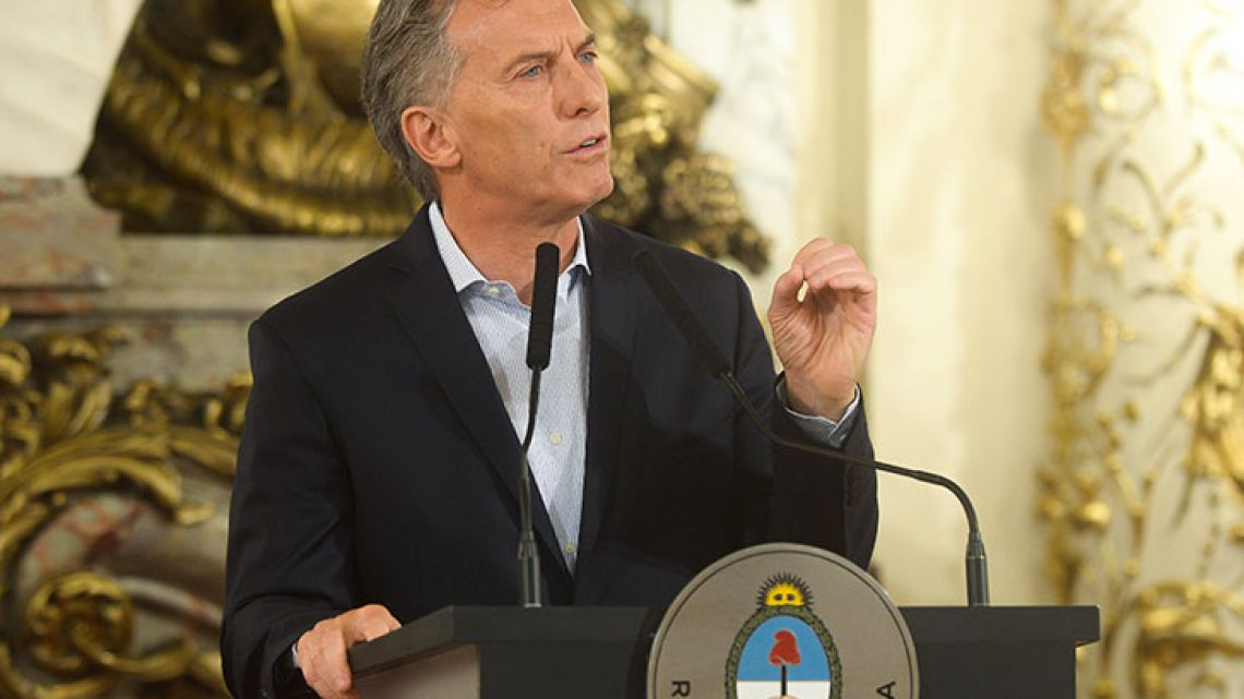 President Macri during a press conference where he spoke about violence and the latest protests.