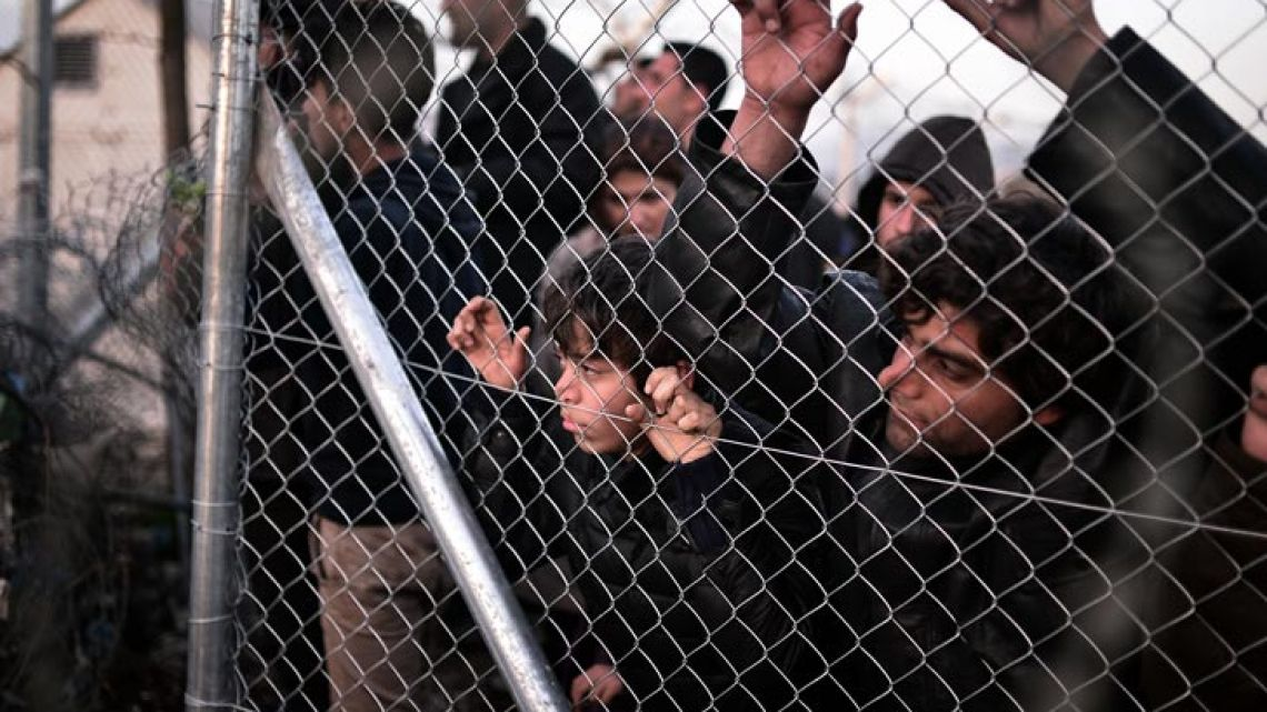 Image from migrants between Greece and Macedonia's borders.