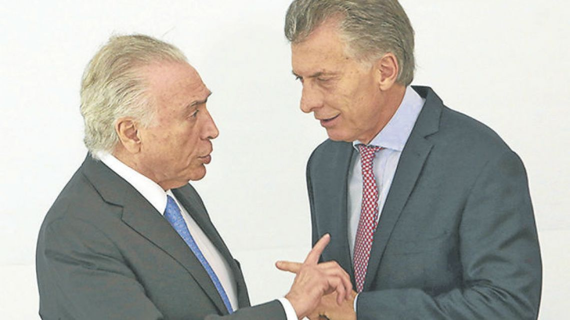 Brazil President Michel Temer meets with his Argentine counterpart, President Mauricio Macri, during last month's Mercosur summit in Brasilia.