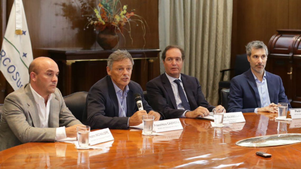 L-to-R: Pedro Inchauspe, Minister Francisco Cabrera and Pablo Clusellas (Production), and Pedro Sorop (Transport) announced an extensive presidential decree package in Buenos Aires on Wednesday January 11, 2018.