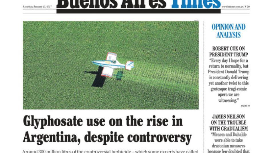 La tapa de Buenos Aires Times de este sábado 0113