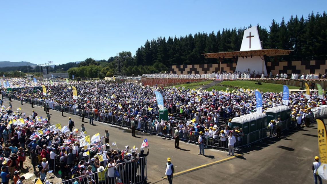 General view taken Pope Francis celebrates an open-air Mass at Maquehue airport in Temuco, 800km south of Santiago.