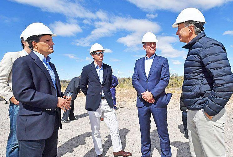 Inauguración. Lizzano y Macri se volvieron a encontrar en la inauguración del Parque Eólico de Rawson de la firma Genneia.