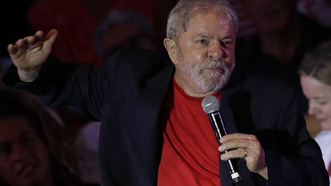 Former Brazilian President Luiz Inacio Lula da Silva speaks during a meeting with artists and intellectuals in São Paulo, Brazil, Thursday, January 18, 2018. Brazilian judges are scheduled to rule Wednesday on Lula da Silva's appeal of his conviction on corruption and money laundering charges.