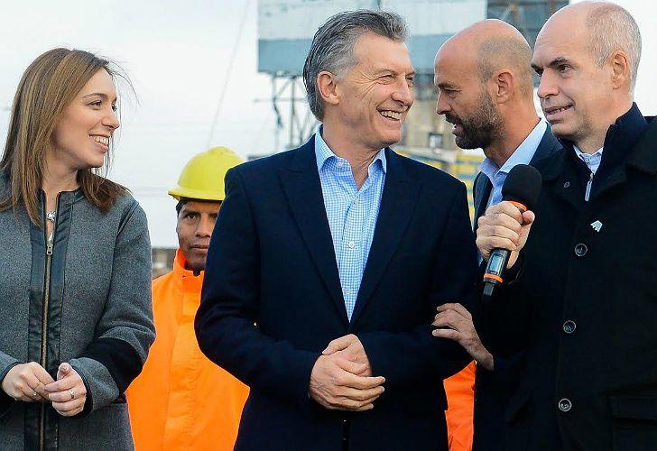 Mauricio Macri, María Eugenia Vidal y Horacio Rodríguez Larreta, el tridente de Cambiemos que va por la reelección.