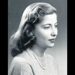 Bust-length studio photograph of Ruth Bader, taken in December 1953 when she was a Senior at Cornell University.