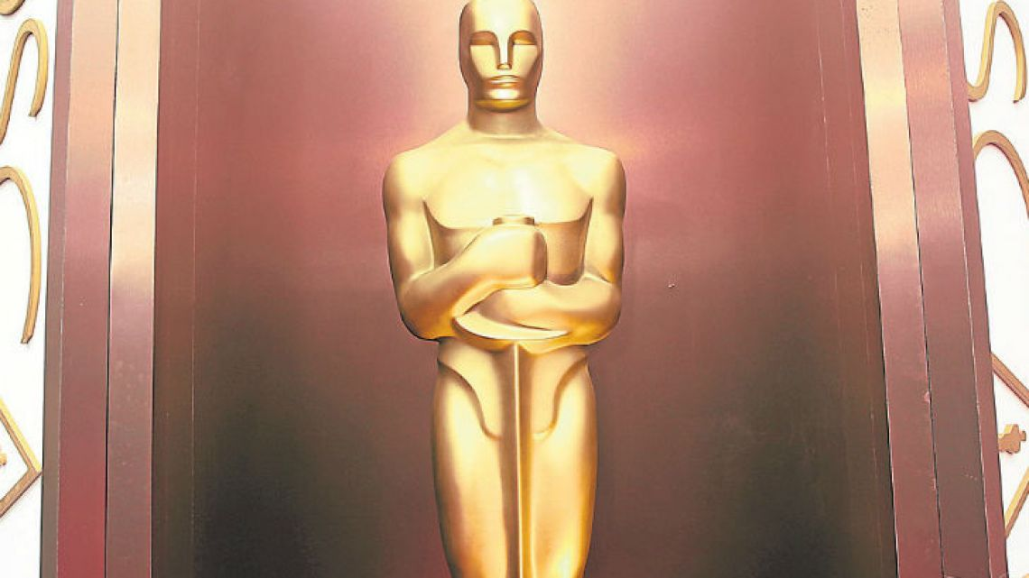 An Oscar statue is displayed at the Oscars outside the Dolby Theatre in Los Angeles.