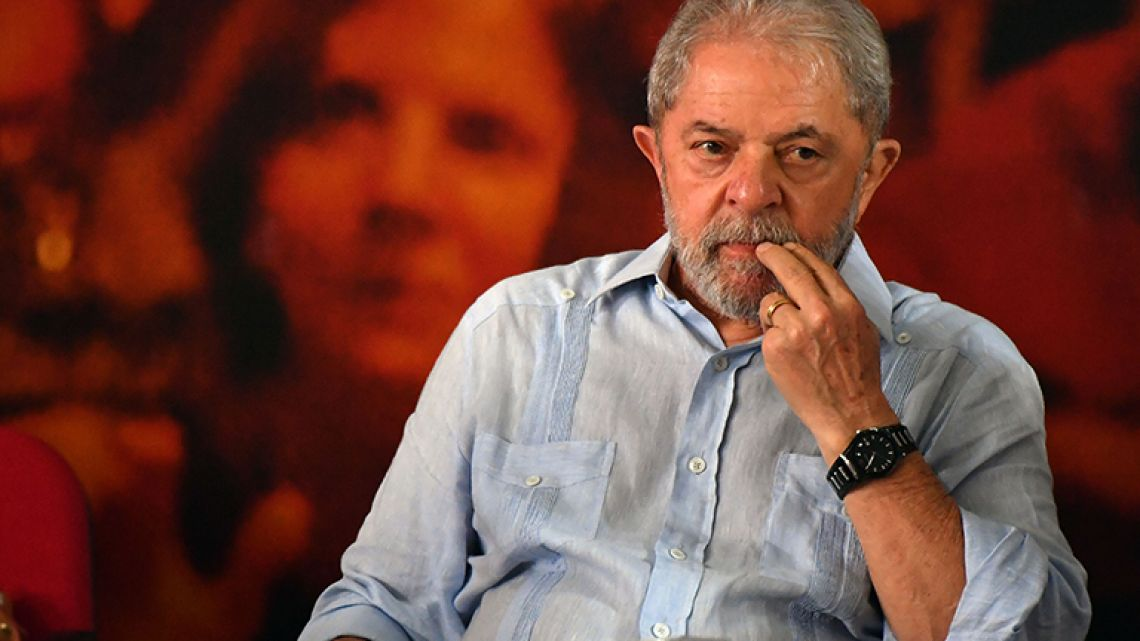 Former Brazilian president Luiz Inácio Lula da Silva gestures during a campaign rally to launch his presidential candidacy for the upcoming October elections, at the Workers Central Union (CUT) headquarters in Sao Paulo, Brazil on January 25, 2018.