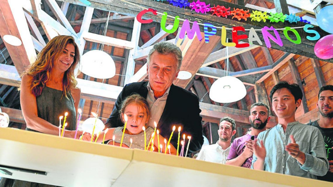 President Macri turned 59 alongside wife Juliana Awada and his smallest daughter, Antonia.