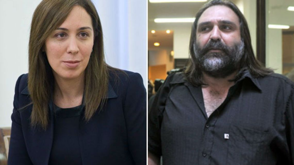 Buenos Aires Province Governor Maria Eugenia Vidal and SUTEBA teachers' union boss Roberto Baradel.
