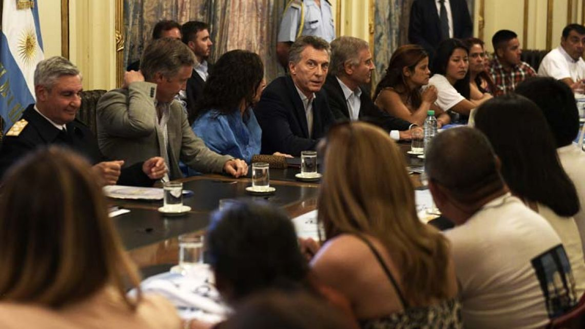 President Mauricio Macri, Vice-President Gabriela Michetti and Defence Minister Oscar Aguad meet relatives of the crew-members of the ARA San Juan submarine at the Casa Rosada
