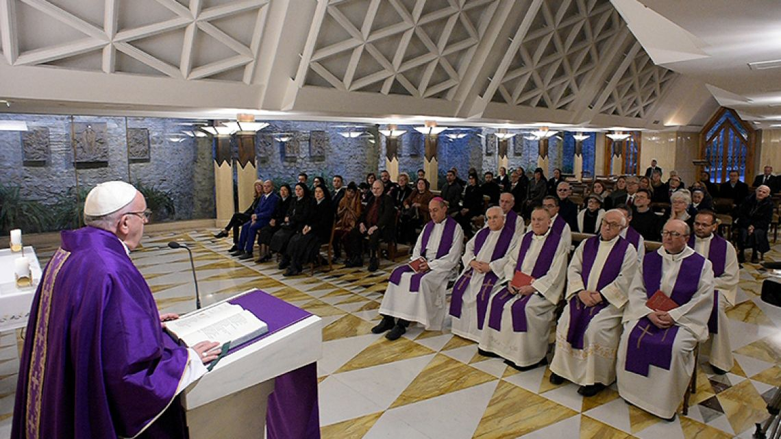 Pope Francis celebrates Mass at the Santa Marta chapel at the Vatican.