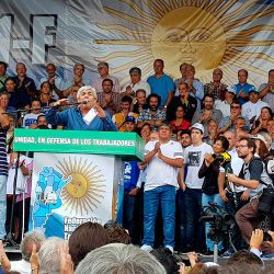 Union leader Hugo Moyano delivers a speech against the government's austerity measures.