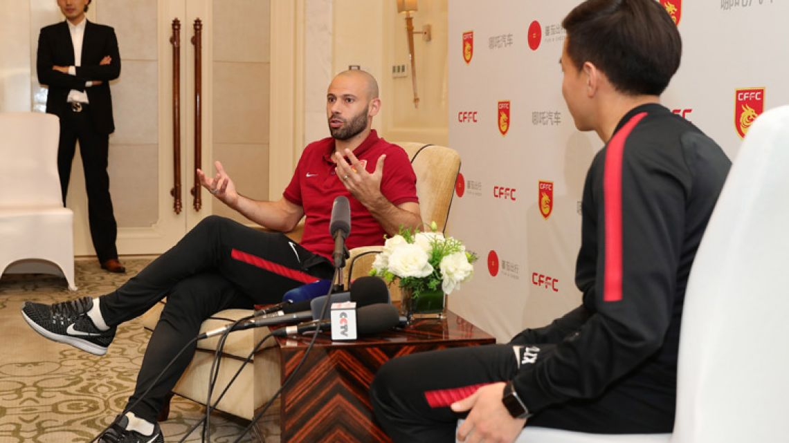 Javier Mascherano speaks at a briefing in Wuhan, in China's central Hubei province. Mascherano joined Hebei China Fortune for the Chinese Super League season.