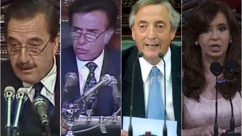 Los discursos de los Presidentes tras el fin de la dictadura.