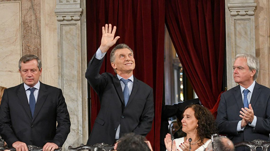Mauricio Macri after his 40-minute speech.