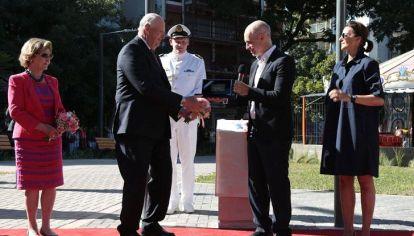 Los Reyes de Noruega, Harald V y Sonja, junto al jefe de Gobierno porteño Horacio Rodríguez Larreta