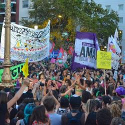 Scenes from the International Women's Day march in downtown Buenos Aires on Thursday, March 8, 2018.