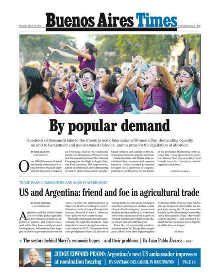La tapa de Buenos Aires Times de este sábado.