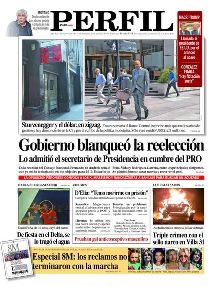 La tapa de Diario PERFIL de este sábado.