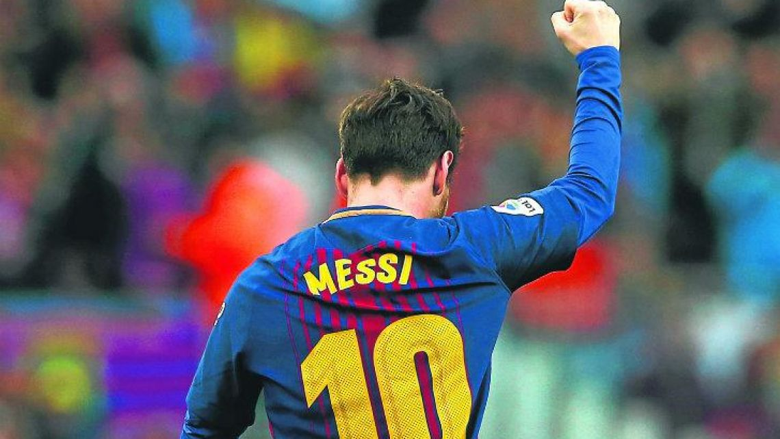 Messi celebrates scoring his 600th career goal at the Camp Nou last weekend.