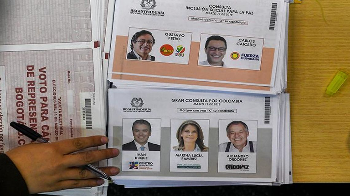 A person votes at a polling station in Bogota, during parliamentary elections in Colombia on March 11, 2018.