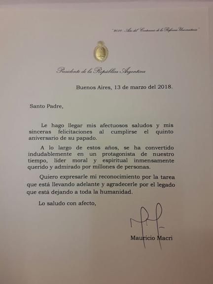La carta que Macri el envió al Papa