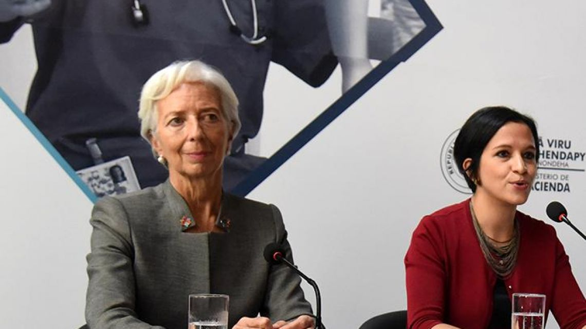 IMF chief Christine Lagarde meets with Paraguay's Economy Minister Lea Gimenez in Asunción on March 14.