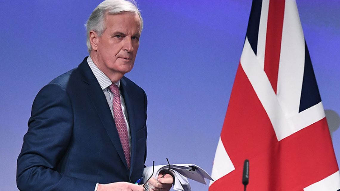 EU chief negotiator Michel Barnier addresses a press conference after his meeting with British Brexit minister at the European Commission in Brussels.