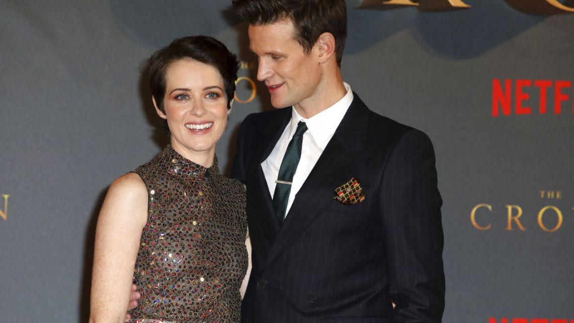 The Crown actors Claire Foy and Matt Smith pose for photographers at the premiere of the show's second season in London last November.