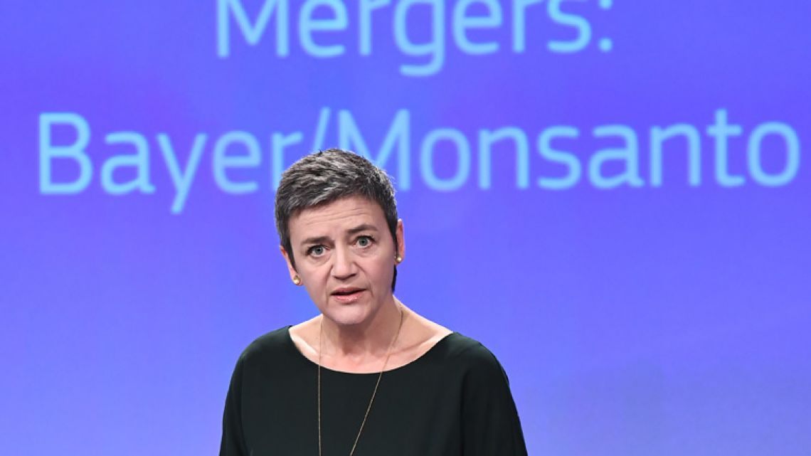 European Commissioner for competition Margrethe Vestager addresses a press conference focused on the proposed blockbuster buyout of US agri-giant Monsanto by German chemical firm Bayer, at the European Union in Brussels.