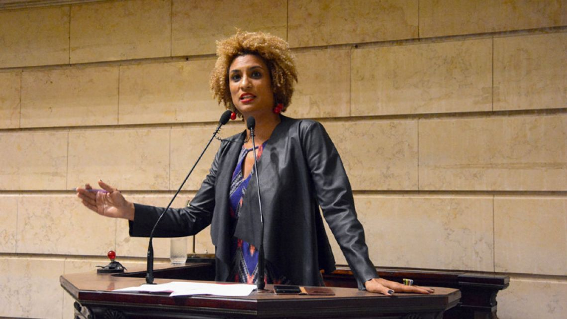 This photo released by Rio de Janeiro's Municipal Chamber shows Marielle Franco, leading a session at the Municipal Chamber in Rio de Janeiro, Brazil on February 21, 2017.
