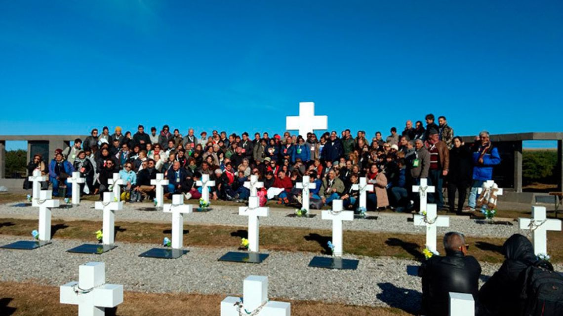 Families of the fallen were able to visit their loved one's final resting place this morning on the Malvinas/Falkland Islands.