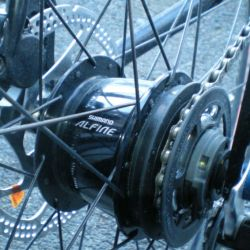 Shimano Alfine S-GS500 8 speed epicyclic internally geared hub laced with spokes and mounted on bicycle