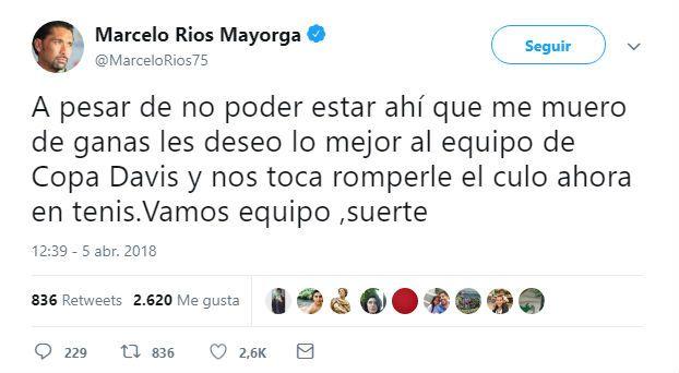 El provocador mensaje del Chino Ríos a la Argentina — Copa Davis