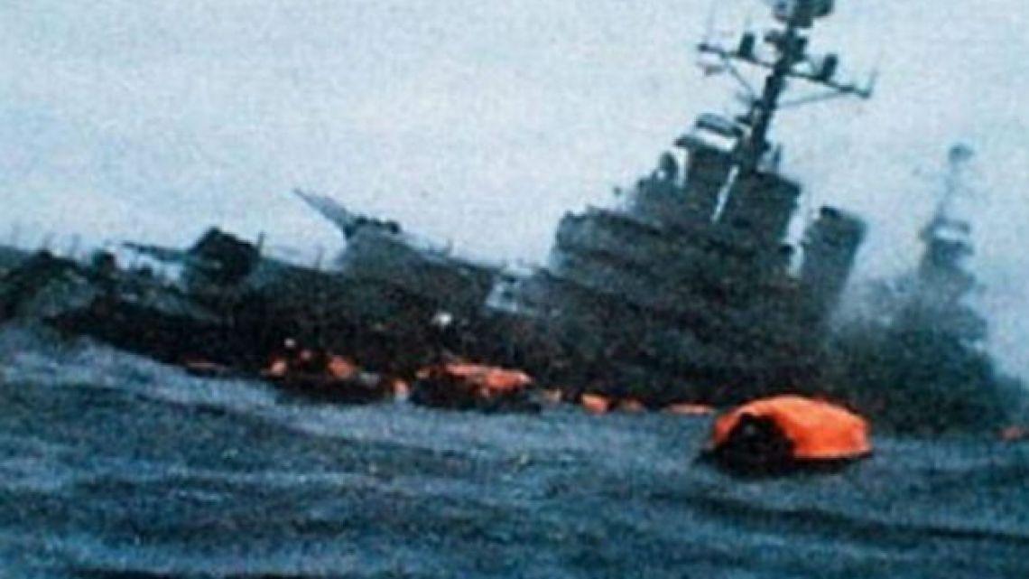 A screenshot from the 1996 documentary feature Hundan al Belgrano (Rule Britannia).