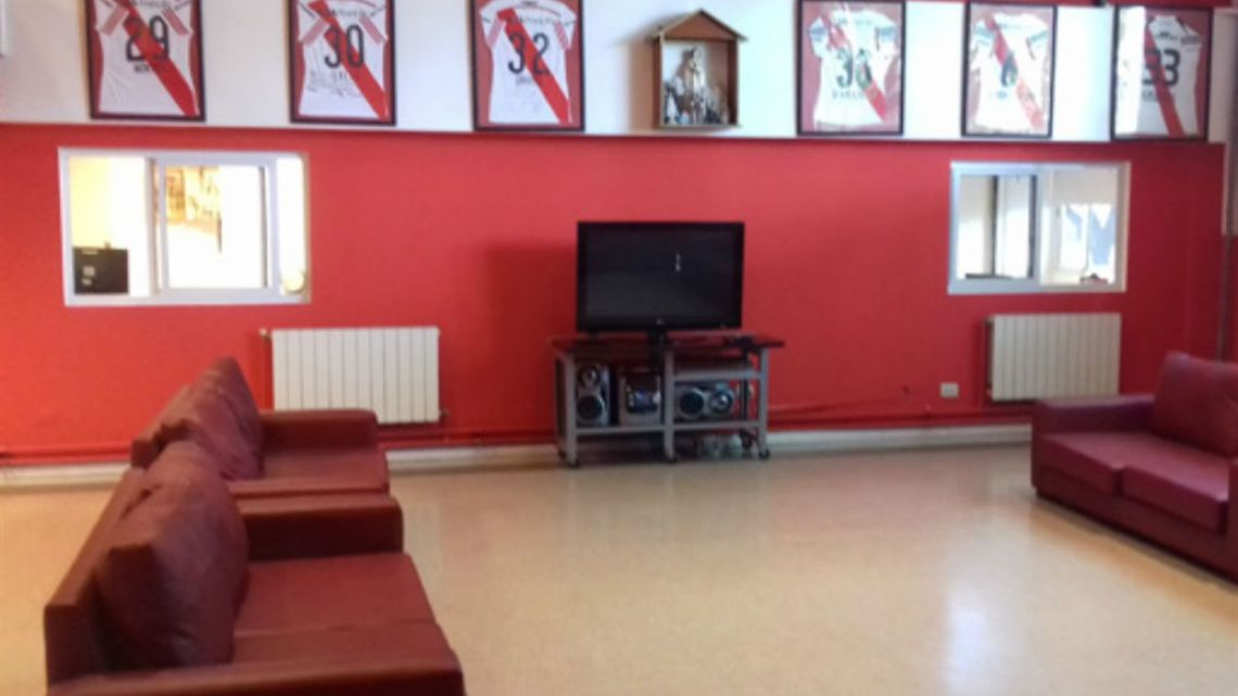 A common area in River Plate football club's youth accomodation facilities where around 80 young players live.