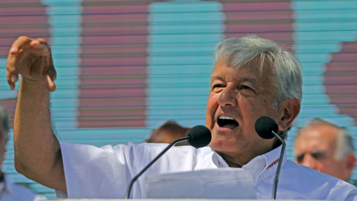 Mexico's presidential candidate Andrés Manuel López Obrador, standing for MORENA party, speaks to his supporters during his first campaign rally, in Ciudad Juárez, Chihuahua State, Mexico.