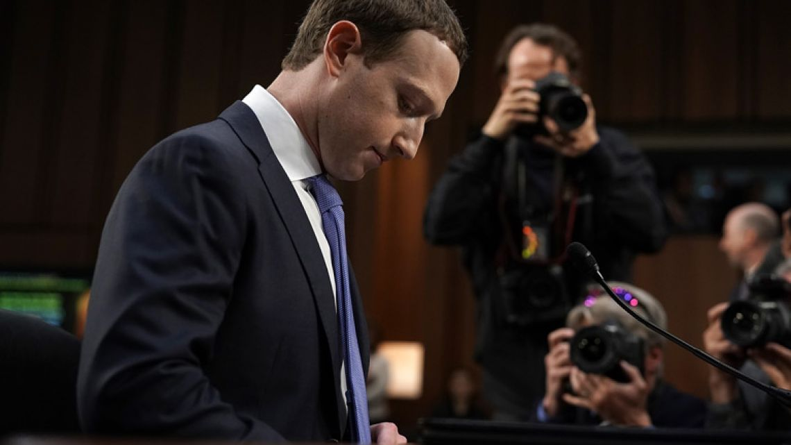 Facebook co-founder, Chairman and CEO Mark Zuckerberg awaits to testify before a combined Senate Judiciary and Commerce committee hearing in the Hart Senate Office Building on Capitol Hill in Washington DC.