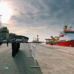 British Navy ship, the HMS Protector, docked in Buenos Aires this morning.