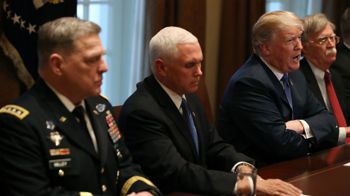 US President Donald Trump speaks during a briefing from senior military leaders regarding Syria in Washington DC.